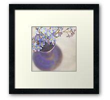 Forget me nots in blue vase Framed Print