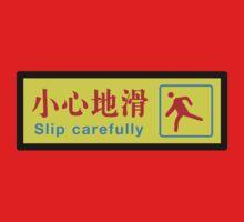 Slip Carefully, Chinese Sign One Piece - Long Sleeve