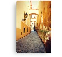 through the yellow buildings Canvas Print