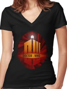 Doctor Who Title Logo's (red) Women's Fitted V-Neck T-Shirt