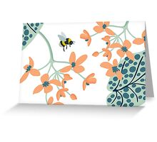 Bees, Flowers and Spotted Leaves Greeting Card