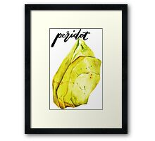 Watercolor Peridot With Calligraphy – August Birthstone Framed Print