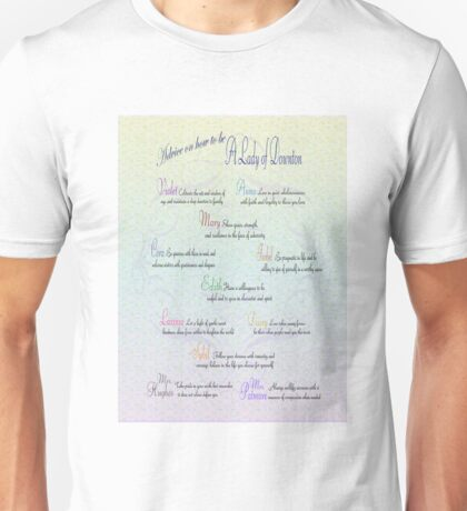 Advice to be a Lady of Downton  Unisex T-Shirt