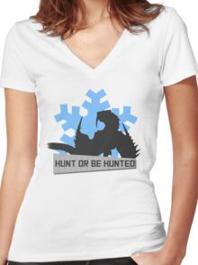 Monster Hunter - Hunt or be Hunted (Barioth) Women's Fitted V-Neck T-Shirt