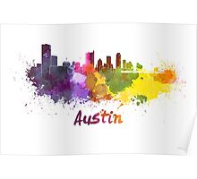Austin skyline in watercolor Poster