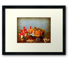 Grunge Christmas: fruits bowl and straw ornaments Framed Print