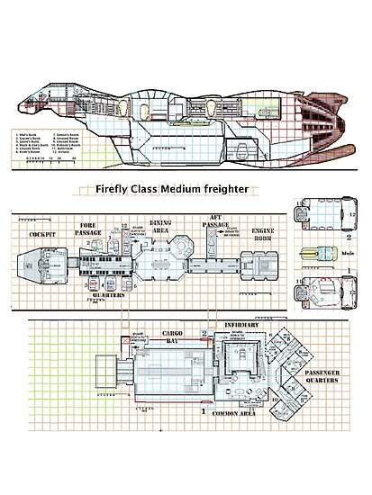 Serenity Firefly floorplan schematics by Radwulf
