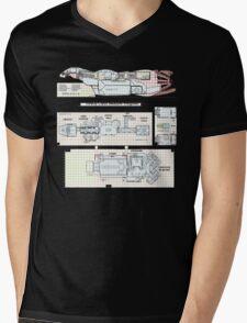 Serenity Firefly floorplan schematics Mens V-Neck T-Shirt