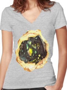 Watercolor Opal – October Birthstone Women's Fitted V-Neck T-Shirt