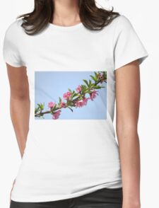 Pink blossoms on a Peach tree in an orchard.  Womens Fitted T-Shirt