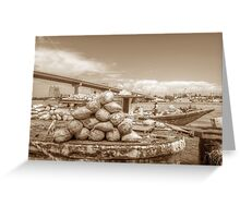 Unloading bags of coal in Potter's Cay - Nassau, The Bahamas Greeting Card