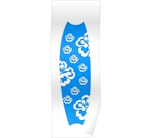 Surfboard White Flowers Poster