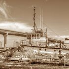 """Big Crab"" docked on a rusty floating dock at Potter's Cay in Nassau, The Bahamas by 242Digital"