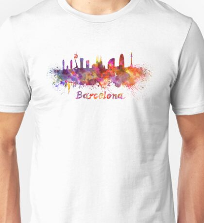 Barcelona skyline in watercolor Unisex T-Shirt