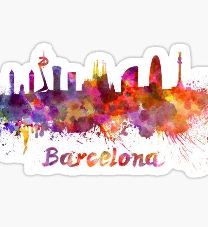 Barcelona skyline in watercolor Sticker