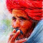 Painting of Indian man smoking by Ravet007