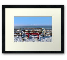 seasonal snow covered red bench sea view Framed Print