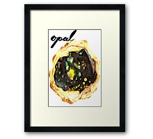 Watercolor Opal With Calligraphy – October Birthstone Framed Print
