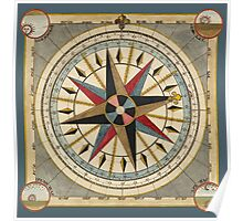 Vintage Compass Illustration Poster