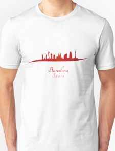 Barcelona skyline in red and gray background Unisex T-Shirt