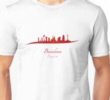Barcelona skyline in red Unisex T-Shirt