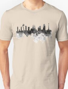 Barcelona skyline in black watercolor Unisex T-Shirt