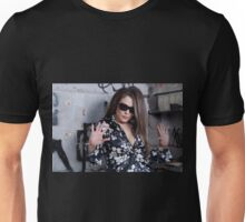 Stunning Female face with sunglasses Unisex T-Shirt