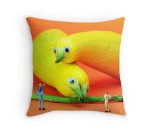 Family watching animals in zoo Throw Pillow