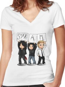 SIXX AM CARTOON Women's Fitted V-Neck T-Shirt