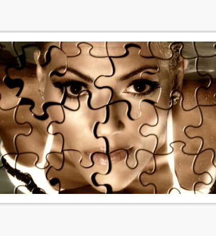 Female face in puzzle portrait Sticker