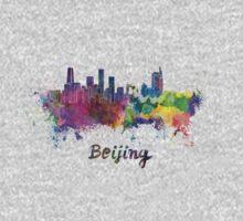 Beijing skyline in watercolor Kids Clothes