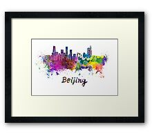 Beijing skyline in watercolor Framed Print