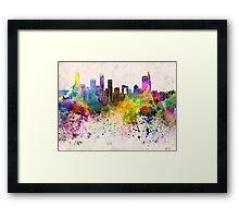 Beijing skyline in watercolor background Framed Print