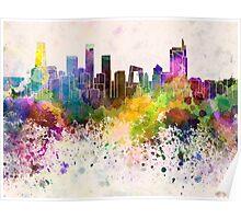 Beijing skyline in watercolor background Poster