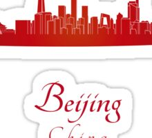Beijing skyline in red Sticker