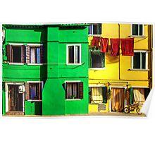 Primary Colours in Burano, Venice Poster