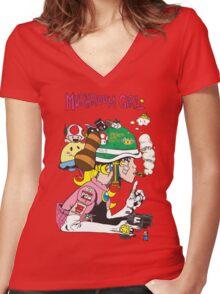 Mushroom Girl Women's Fitted V-Neck T-Shirt