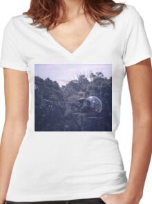 Bell 47 Helicopter @  Nowra, Australia 1997 Women's Fitted V-Neck T-Shirt