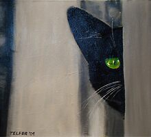 'You Can't See Me' Black Cat by Kelly Telfer