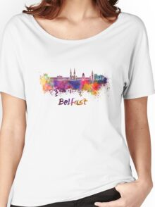 Belfast skyline in watercolor Women's Relaxed Fit T-Shirt
