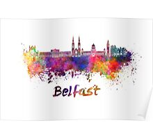 Belfast skyline in watercolor Poster