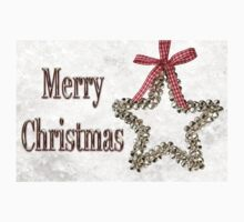 Merry Christmas Message With Silver Star One Piece - Short Sleeve