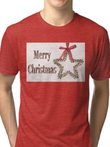 Merry Christmas Message With Silver Star Tri-blend T-Shirt