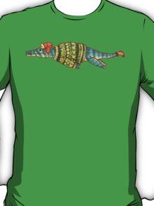 Hipster Liopleurodon Derposaur with Sweater and Ushanka T-Shirt