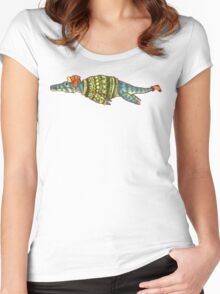 Hipster Liopleurodon Derposaur with Sweater and Ushanka Women's Fitted Scoop T-Shirt