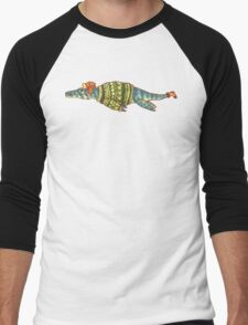 Hipster Liopleurodon Derposaur with Sweater and Ushanka Men's Baseball ¾ T-Shirt