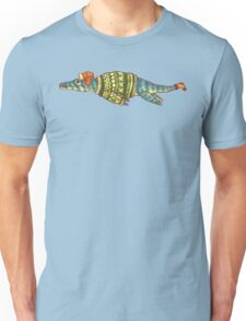 Hipster Liopleurodon Derposaur with Sweater and Ushanka Unisex T-Shirt