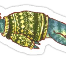 Hipster Liopleurodon Derposaur with Sweater and Ushanka Sticker