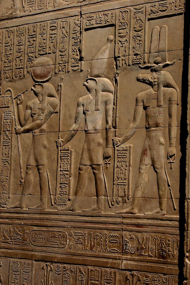 Re Horakhty Hathor and Sobek at Edfu by docnaus
