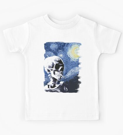 Skull with burning cigarette on a Starry Night Kids Tee
